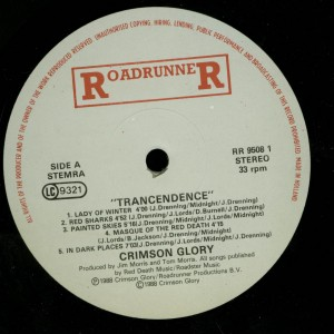 Crimson Glory Transcendence Holland LP label side 1 (2)
