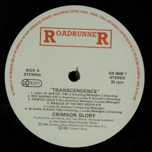 Crimson Glory Transcendence Holland LP label side 1