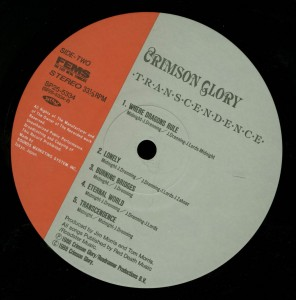 Crimson Glory Transcendence Japan LP label side 2