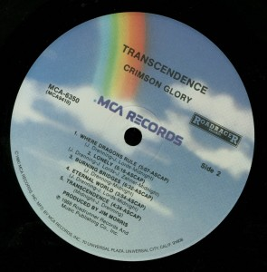 Crimson Glory Transcendence MCA Promo LP label side 2