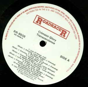 Crimson Glory Transcendence Roadracer Promo LP label side 1