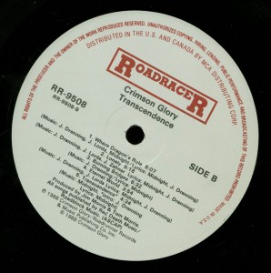 Crimson Glory Transcendence Roadracer Promo LP label side 2