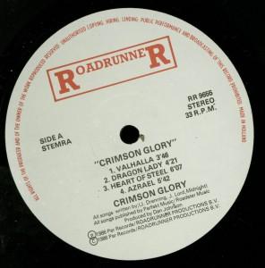 Crimson Glory Crimson Glory Holland LP label side 1