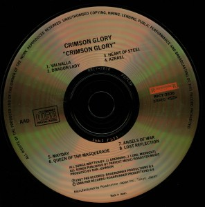 Crimson Glory Crimson Glory Japan Cd Roadrunner Records _– RRCY-2020 disc