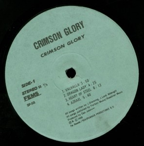 Crimson Glory Crimson Glory Japan bootleg Lp label side 1
