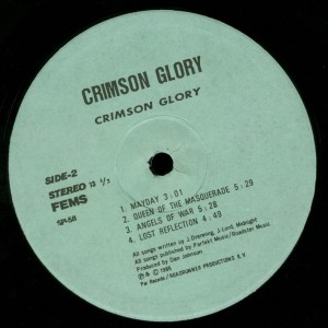Crimson Glory Crimson Glory Japan bootleg Lp label side 2