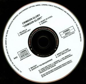 Crimson Glory Crimson Glory Matrix  Runout 168619655-2 V01 OYR disc