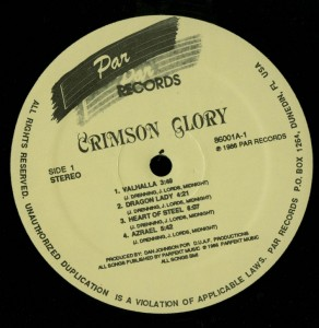 Crimson Glory Crimson Glory Par LP Label Side 1