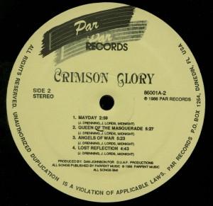 Crimson Glory Crimson Glory Par LP Label Side 2