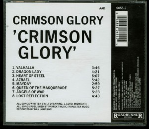 Crimson Glory Crimson Glory Roadrunner Records RR 349655 Germany with barcode back
