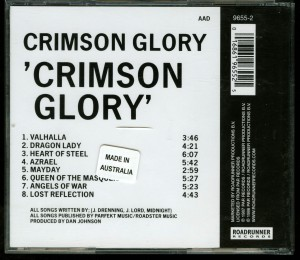 Crimson Glory Grimson Glory German CD Optimal Media Production back