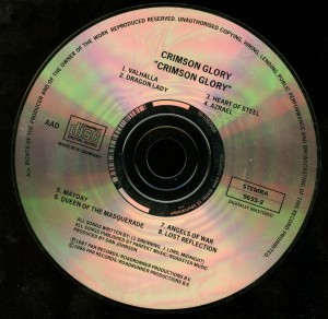 Crimson Glory Grimson Glory German CD Optimal Media Production disc
