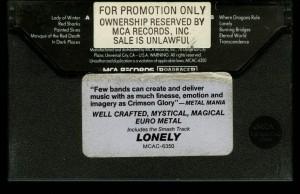Crimson Glory Transcendence MCA promo cass back