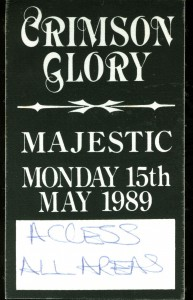 Crimson Glory Backstage Pass