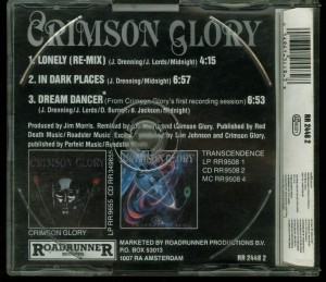 Crimson Glory Lonely Cd Single back