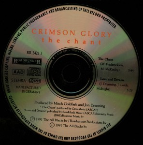 Crimson Glory The Chant Cd single disc