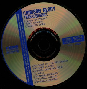 Crimson Glory Transcendence Japan Promo Cd Far East Metal Syndicate _– APCY-2005 disc