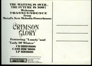 Crimson Glory Transcendence postcard back