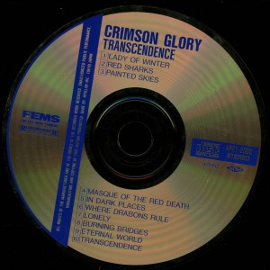 Crimson Glory _Transcendence Japan Cd Far East Metal Syndicate APCY-2005 disc