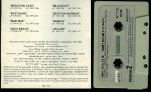 Mercyful Fate Dont Break The Oath Cassette Attic Canada back