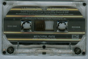 Mercyful Fate Dont Break The Oath RC Records cass side 1