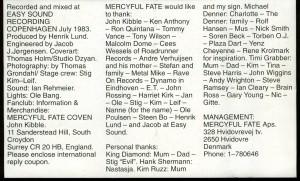 Mercyful Fate Melissa Cassette Metal Mind inlay back