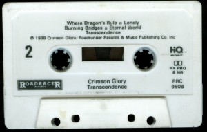 Crimson Glory Transcendence Roadracer Promo Cassette side 2