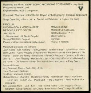 Mercyful Fate Melissa Canada Black Tape inlay back