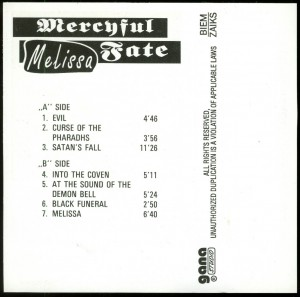 Mercyful Fate Melissa Poland Cassette TAKT 690 back