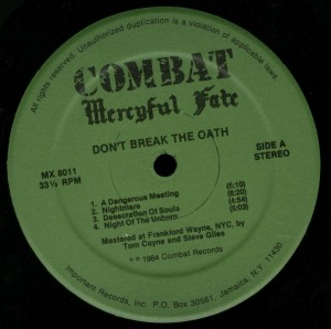 Don't Break The Oath Combat Green Label LP label side 1