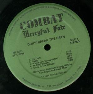 Don't Break The Oath Combat Green Label LP label side 2