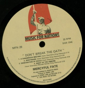 Don't Break The Oath Music For Nations France label side 1