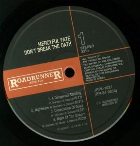 Mercyful Fate Don't Break The Oath Korea LP label side 1 LP
