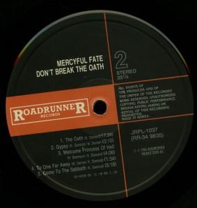 Mercyful Fate Don't Break The Oath Korea LP label side 2