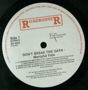 Mercyful Fate Don't Break The Oath Roadrunner Holland label side 1