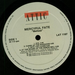 Mercyful Fate Melissa Attic Canada label side 1