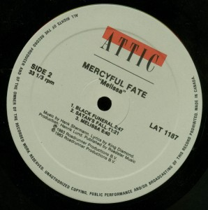 Mercyful Fate Melissa Attic Canada label side 2