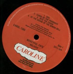 Mercyful Fate Melissa Caroline LP label side 2
