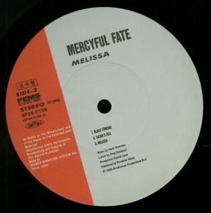 Mercyful Fate Melissa Japan Promo LP labe lside 2