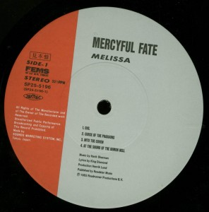Mercyful Fate Melissa Japan Promo LP label side 1