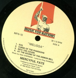 Mercyful Fate Melissa Music For Nations French LP label  side 1