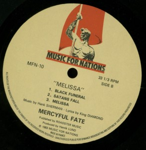 Mercyful Fate Melissa Music For Nations French LP label  side 2