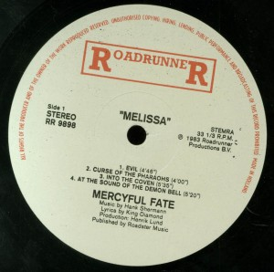 Mercyful Fate Melissa Roadrunner Holland Label side 1