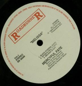 Mercyful Fate Melissa Roadrunner Holland Label side 2