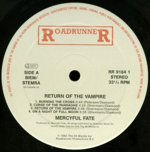 Mercyful Fate Return Of The Vampire Holland LP label side 1