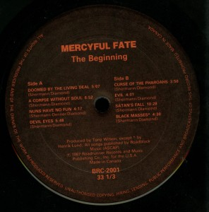 Mercyful Fate The Beginning Banzai LP label side 1