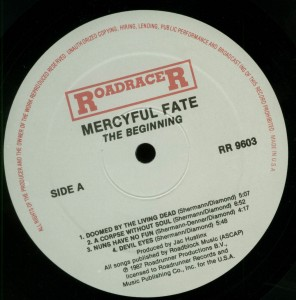 Mercyful Fate The Beginning Roadracer USA LP label side 1