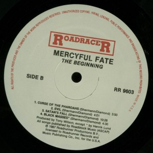 Mercyful Fate The Beginning Roadracer USA LP label side 2