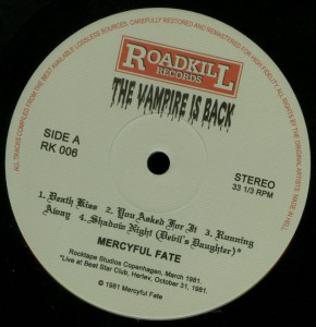 Mercyful Fate The Vampire Is Back Black Vinyl LP label side a