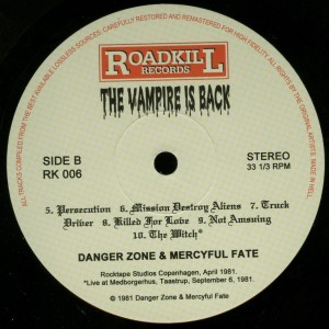 Mercyful Fate The Vampire Is Back Black Vinyl LP label side b